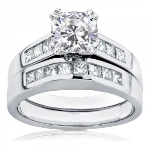 White Gold 1 3/4ct TGW Forever One DEF Cushion Moissanite and Princess Channel Diamond Bridal Set - Custom Made By Yaffie™