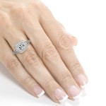 White Gold 1 3/5ct TDW Asscher Diamond Antique Etching Engagement Ring - Custom Made By Yaffie™