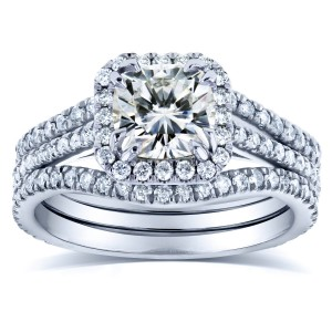 White Gold 1 4/5ct TCW Moissanite and Diamond Bridal Rings 3-pc Set - Custom Made By Yaffie™