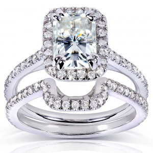 White Gold 1 5/8ct TGW Radiant-cut Forever Brilliant Moissanite and Diamond Halo Bridal Rings Set - Custom Made By Yaffie™