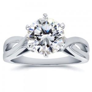 White Gold 1 7/8 Carat 6-prong Round Moissanite Solitaire Crossed Split Shank Engagement Ring - Custom Made By Yaffie™