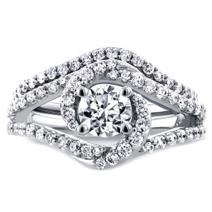 White Gold 1 7/8ct TCW Round Moissanite and Diamond Crossover Swirl Bridal Se - Custom Made By Yaffie™