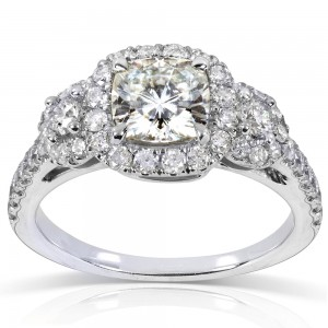 White Gold 1 7/8ct TGW Forever One DEF Cushion Moissanite and Diamond 3-Stone Halo Engagement Ring - Custom Made By Yaffie™