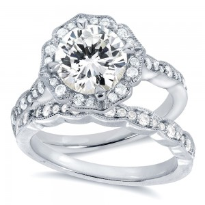 White Gold 1 7/8ct TGW Round-cut Moissanite and Diamond Floral Antique Bridal Rings Set - Custom Made By Yaffie™