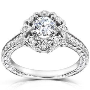 White Gold 1/2ct TDW Diamond Edwardian Antique Engagement Ring - Custom Made By Yaffie™