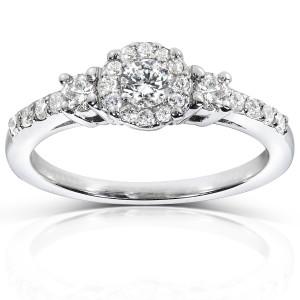 White Gold 1/2ct TDW Diamond Engagement Ring - Custom Made By Yaffie™