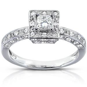 White Gold 1/2ct TDW Diamond Halo Engagement Ring - Custom Made By Yaffie™