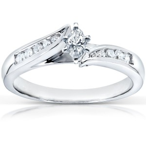 White Gold 1/3ct TDW Marquise Diamond Engagement Ring - Custom Made By Yaffie™