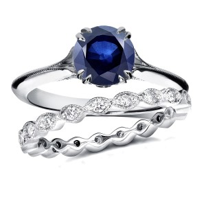 White Gold 1ct Blue Sapphire and 2/5ct TDW Diamond Floral Antique Eternity Ba - Custom Made By Yaffie™