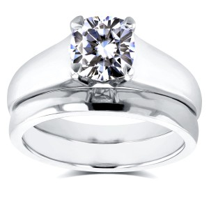 White Gold 1ct Cushion Diamond Solitaire Bridal Rings Set - Custom Made By Yaffie™