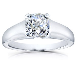 White Gold 1ct Cushion Diamond Solitaire Engagement Ring - Custom Made By Yaffie™