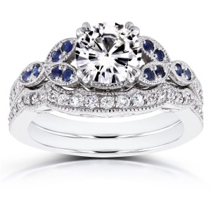 White Gold 1ct Forever Brilliant Moissanite Blue Sapphire and 1/4ct TDW Diamond Bridal Set - Custom Made By Yaffie™