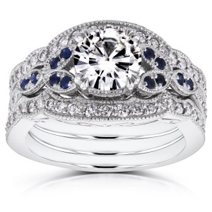 White Gold 1ct Moissanite Blue Sapphire and 1/2ct TDW Diamond Vintage Floral 3-Piece Bri - Custom Made By Yaffie™