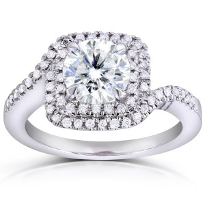 White Gold 1ct Round Moissanite Classic and 1/5ct TDW Diamond Ring - Custom Made By Yaffie™
