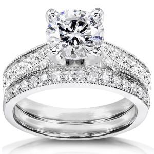 White Gold 1ct Round Moissanite and 1/3ct TDW Diamond Pave Milgrain Bridal Se - Custom Made By Yaffie™