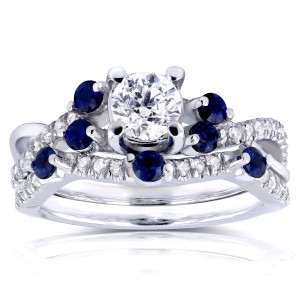 White Gold 1ct TCW Diamond and Blue Sapphire Bridal Set - Custom Made By Yaffie™