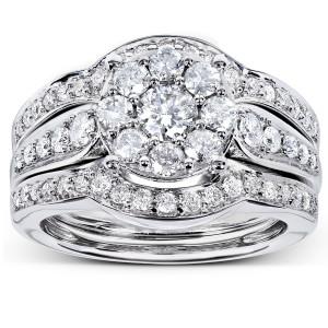 White Gold 1ct TDW 3-piece Diamond Bridal Rings Set - Custom Made By Yaffie™