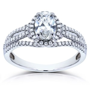 White Gold 1ct TDW Certified Oval Diamond Ring - Custom Made By Yaffie™