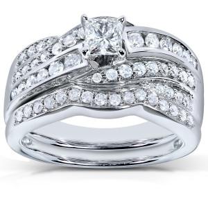 White Gold 1ct TDW Diamond Bridal Ring Set - Custom Made By Yaffie™