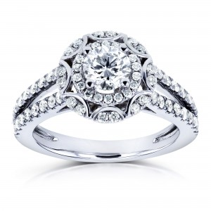 White Gold 1ct TDW Floral Vintage Style Diamond Engagement Ring - Custom Made By Yaffie™