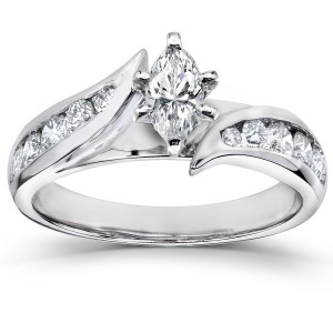 White Gold 1ct TDW Marquise Diamond Engagement Ring - Custom Made By Yaffie™