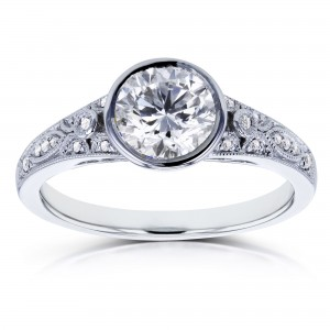 White Gold 1ct TDW Round Bezel Diamond Vintage Engagement Ring - Custom Made By Yaffie™
