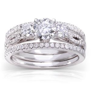 White Gold 1ct TDW Round-cut 3-piece Diamond Bridal Set - Custom Made By Yaffie™