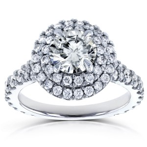 White Gold 2 1/10ct TCW Moissanite and Diamond Double Halo Split Shank Engagement Ring - Custom Made By Yaffie™
