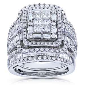 White Gold 2 1/2ct TDW Diamond Composite Rectangular Frame Bridal Rings Set - Custom Made By Yaffie™