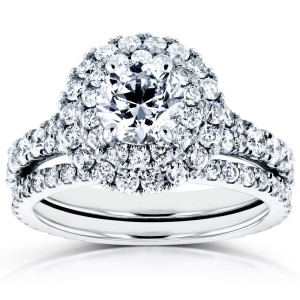 White Gold 2 1/3ct TDW Diamond Double Halo Cathedral Bridal Set - Custom Made By Yaffie™
