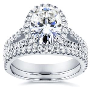 White Gold 2 1/5ct TGW Moissanite and Diamond Oval Halo Split Shank Bridal Rings Set - Custom Made By Yaffie™