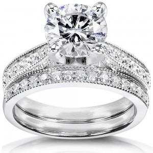 White Gold 2 1/5ct TGW Round Forever Brilliant Moissanite and Diamond 2-Piece Vintage Bridal Set - Custom Made By Yaffie™