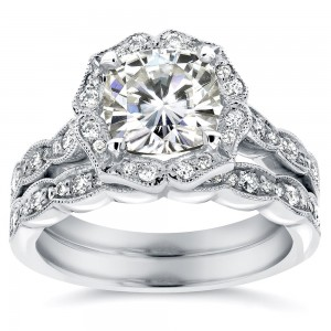 White Gold 2 1/6ct TGW Cushion-cut Moissanite and Diamond Floral Vintage Bridal Ring Set - Custom Made By Yaffie™