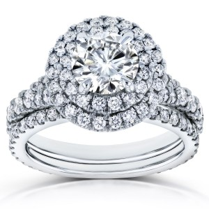 White Gold 2 2/5ct TCW Moissanite and Diamond Double Halo Split Shank Bridal Set - Custom Made By Yaffie™