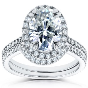 White Gold 2ct TGW Forever Brilliant Moissanite and Diamond Oval Halo Bridal Rings - Custom Made By Yaffie™