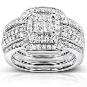 White Gold 3/4ct TDW Diamond 3-piece Bridal Ring Set - Custom Made By Yaffie™