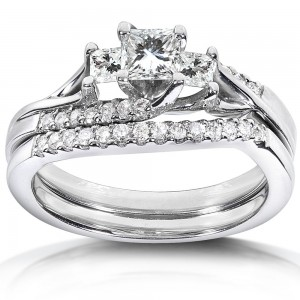 White Gold 3/4ct TDW Diamond Bridal Ring Set - Custom Made By Yaffie™