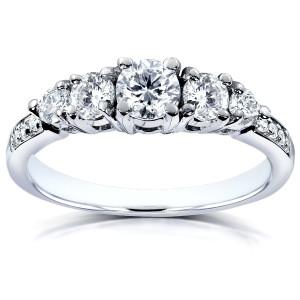 White Gold 3/4ct TDW Diamond Engagement Ring - Custom Made By Yaffie™