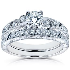 White Gold 3/4ct TDW Diamond Filigree Milgrain Bridal Rings Set - Custom Made By Yaffie™