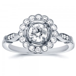 White Gold 3/4ct TDW Floral Antique Diamond Ring - Custom Made By Yaffie™