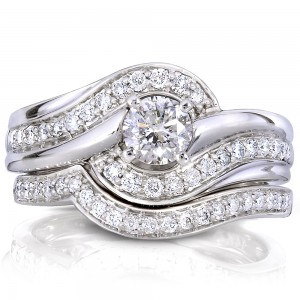 White Gold 3/4ct TDW Round Diamond 2-piece Bridal Rings Set - Custom Made By Yaffie™