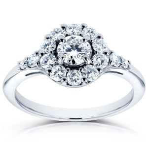 White Gold 3/4ct TDW Round Diamond Halo Engagement Ring - Custom Made By Yaffie™