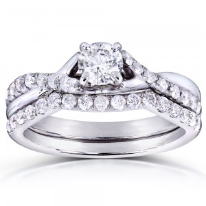 White Gold 3/4ct TDW Round-cut Diamond Bridal Set - Custom Made By Yaffie™