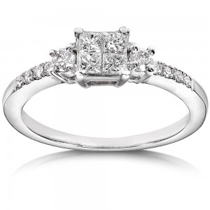 White Gold 3/8ct TDW Diamond Engagement Ring - Custom Made By Yaffie™