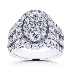White Gold 3ct TDW Oval Cluster Round Brilliant Diamond Ring - Custom Made By Yaffie™