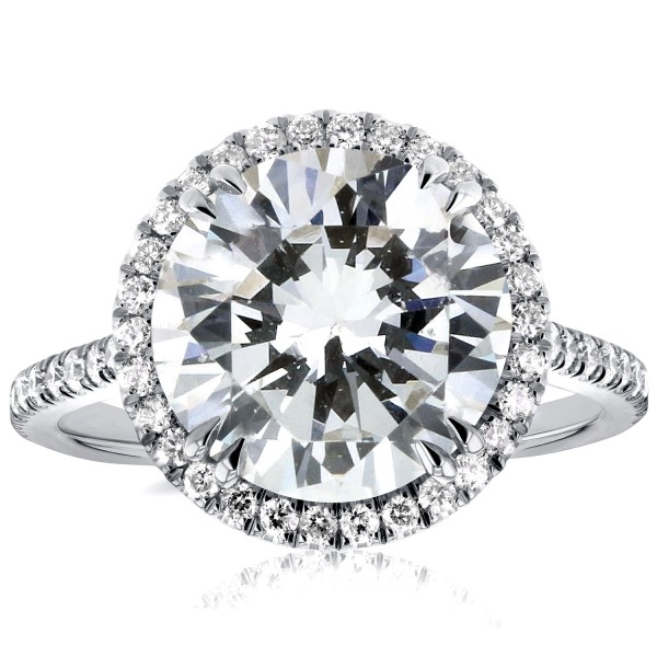 White Gold 4 3/4ct Round Forever Brilliant Moissanite and 2/5ct TDW Diamond H - Custom Made By Yaffie™