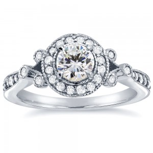 White Gold 4/5ct TDW Round-cut Diamond Antique Halo Engagement Ring - Custom Made By Yaffie™