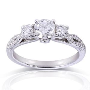 White Gold 4/5ct TDW Round-cut Diamond Engagement Ring - Custom Made By Yaffie™