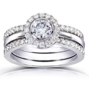 White Gold 4/5ct TDW Round-cut Halo Diamond 3-piece Bridal Set - Custom Made By Yaffie™
