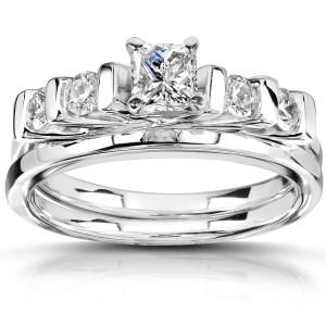 White Gold 5/8 ct TDW Diamond Bridal Ring Set - Custom Made By Yaffie™